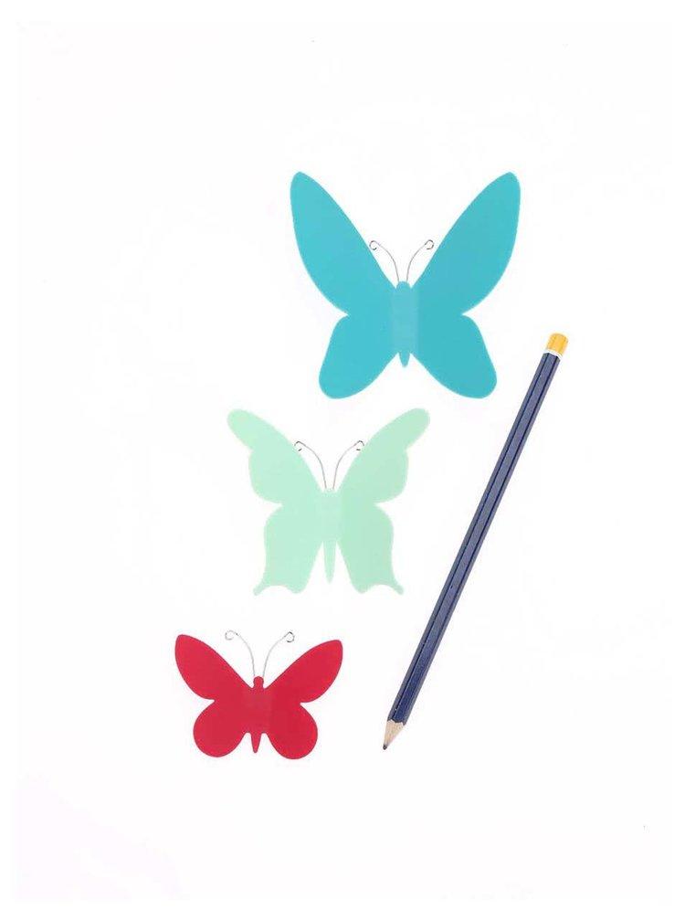 Sada devíti modro-červených motýlků na zeď Umbra Mariposa