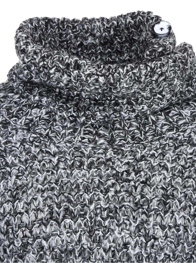 Černý volnější pletený svetr s rolákem VERO MODA Dawn