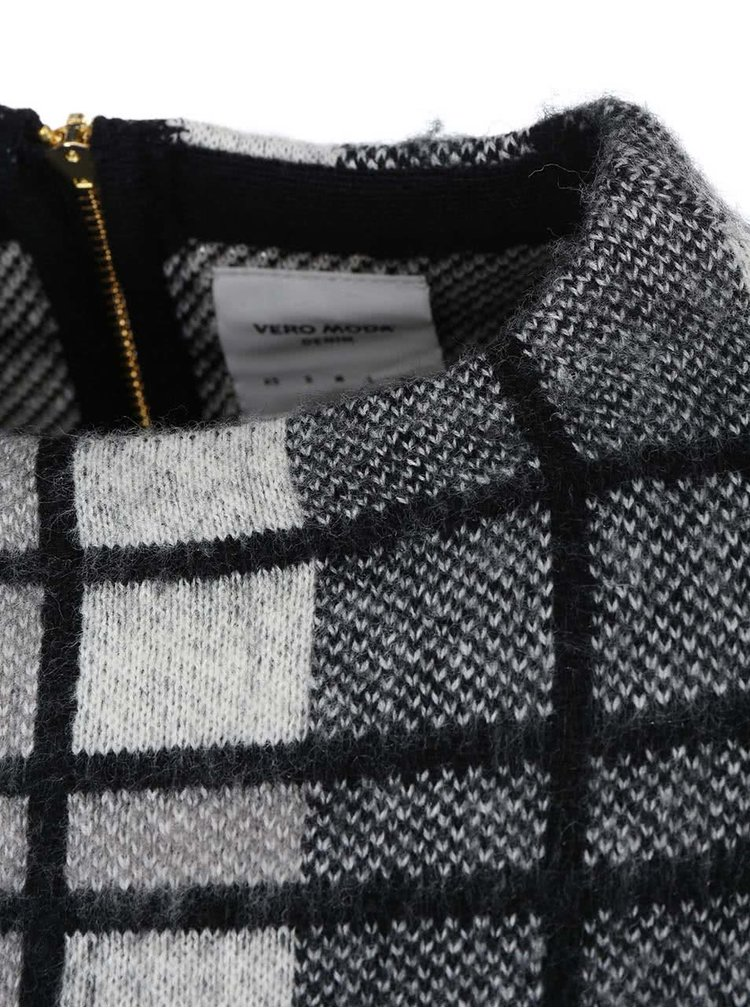Černý kostkovaný svetr s límcem VERO MODA Shanna
