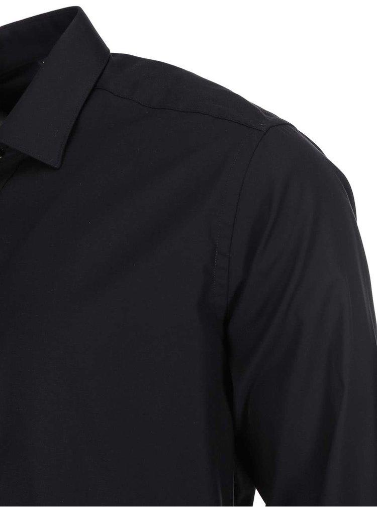Čierna slim fit košeľa Seven Seas Fine Twill