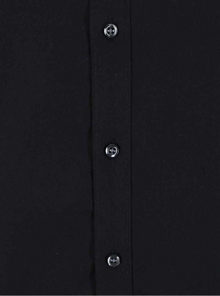 Camasa neagra Seven Seas Fine Twill slim fit din bumbac