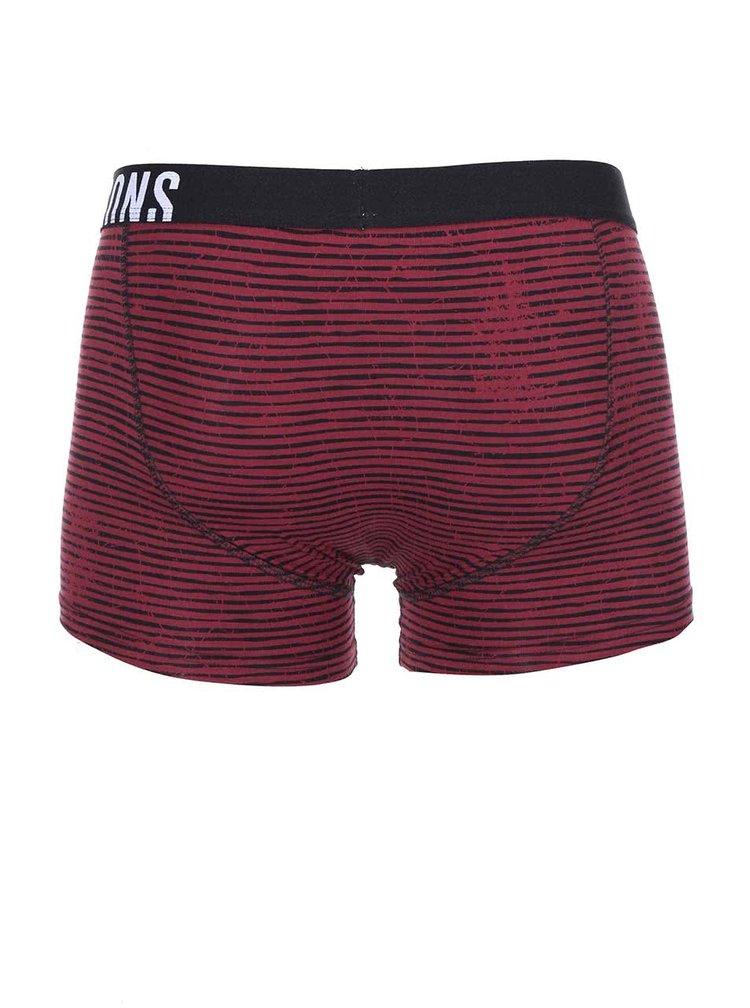 Čierno-vínové pruhované boxerky ONLY & SONS Sid