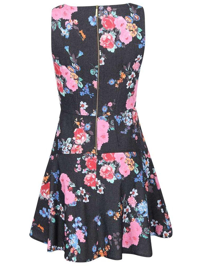Rochie gri închis cu model floral în culori vii de la Closet