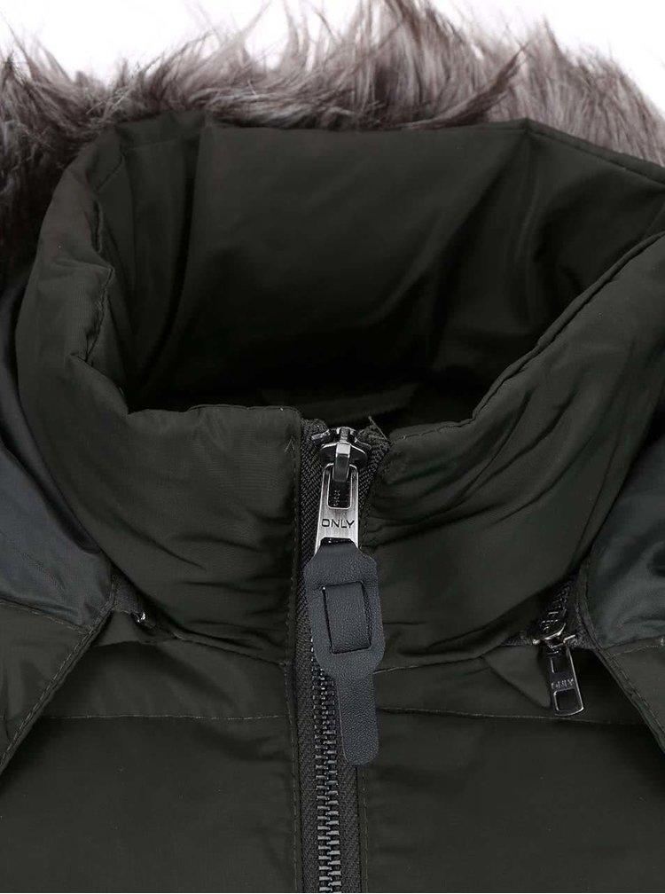 Zelenosivá prešívaná bunda ONLY Lana