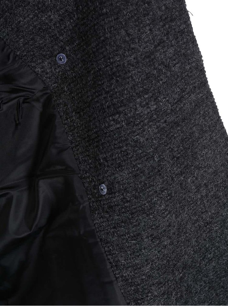 Tmavě šedý vlněný dvouřadý kabát ONLY Emmelie