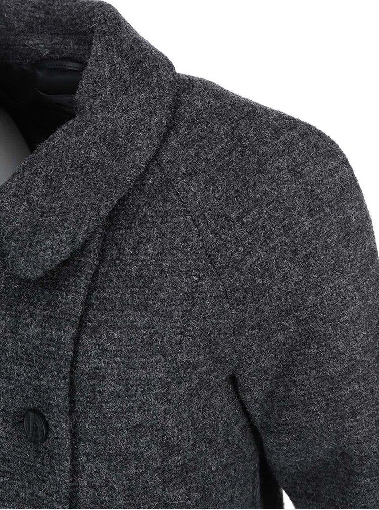 Palton e lână cu două rânduri de nasturi gri închis ONLY Emmelie