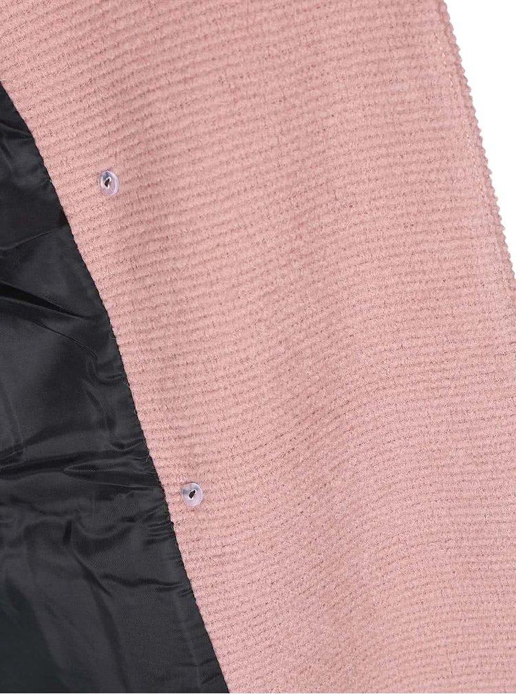 Ružový vlnený dvojradový kabát ONLY Emmelie
