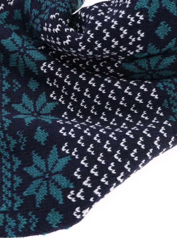 Eșarfă bleumarin cu imprimeu norvegian și ciucuri Brakeburn