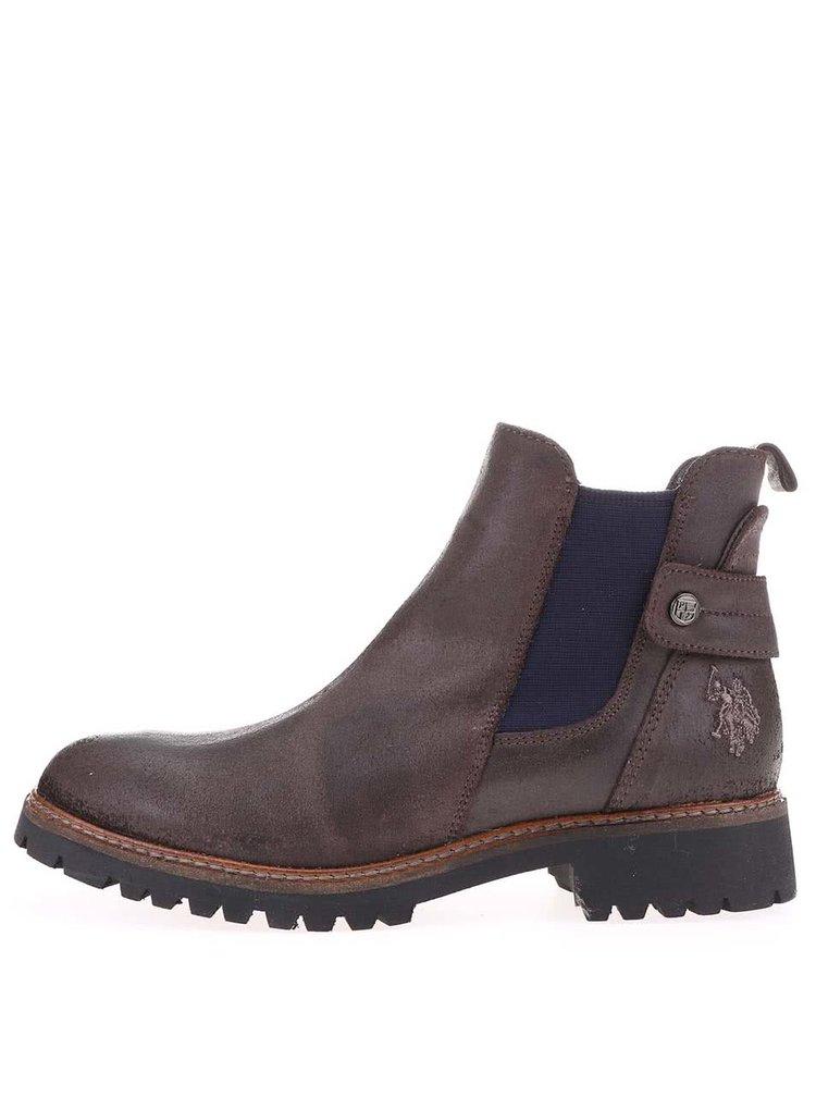 Tmavohnedé dámske kožené chelsea topánky U.S. Polo Assn. Manon