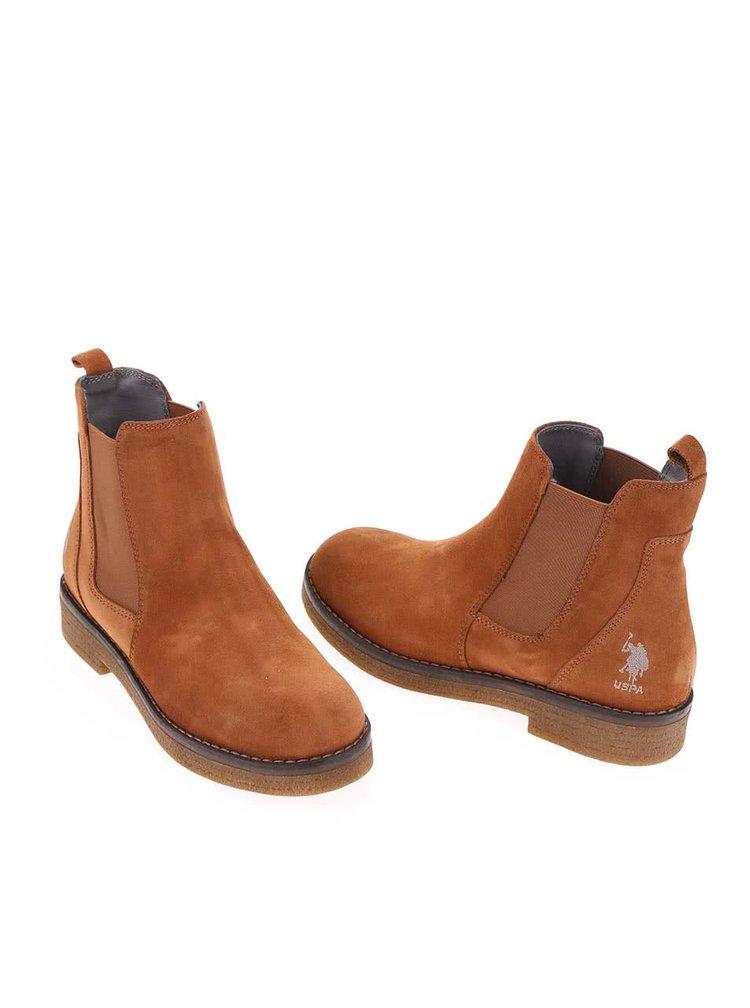 Hnědé dámské kožené boty U.S. Polo Assn. Margot