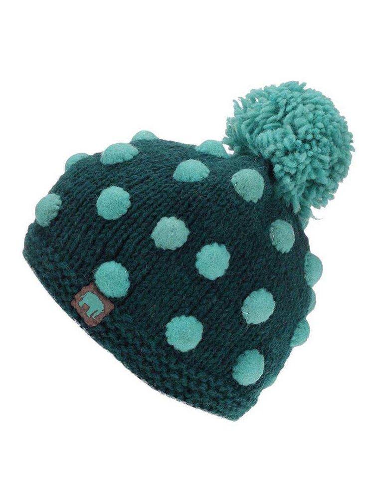 Smaragdová pletená čapica s bodkami a brmbolcom TRANQUILLO SUVI