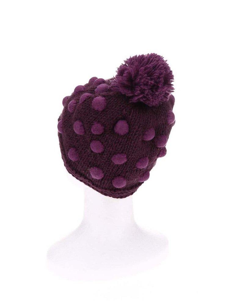 Căciulă polka violet Tranquillo Satu cu ciucure și buline
