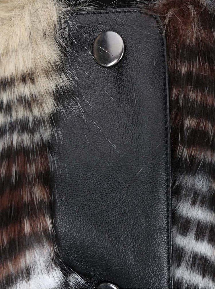 Černá koženková bunda s umělým kožíškem Desires Liona