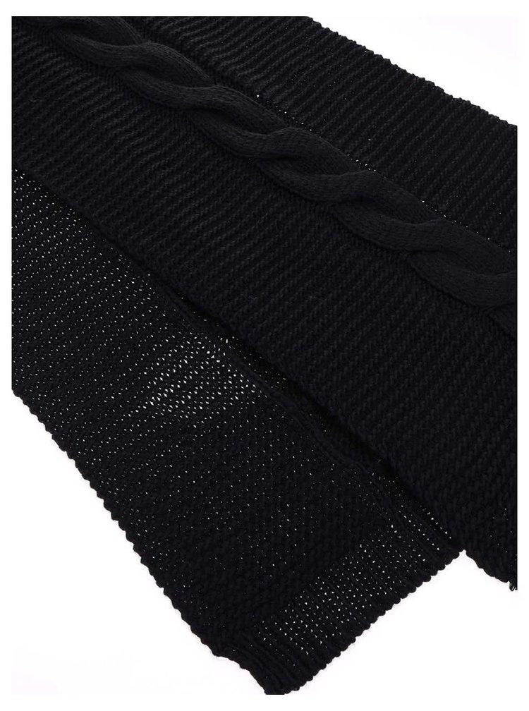 Čierny pletený šál Pieces Rifka