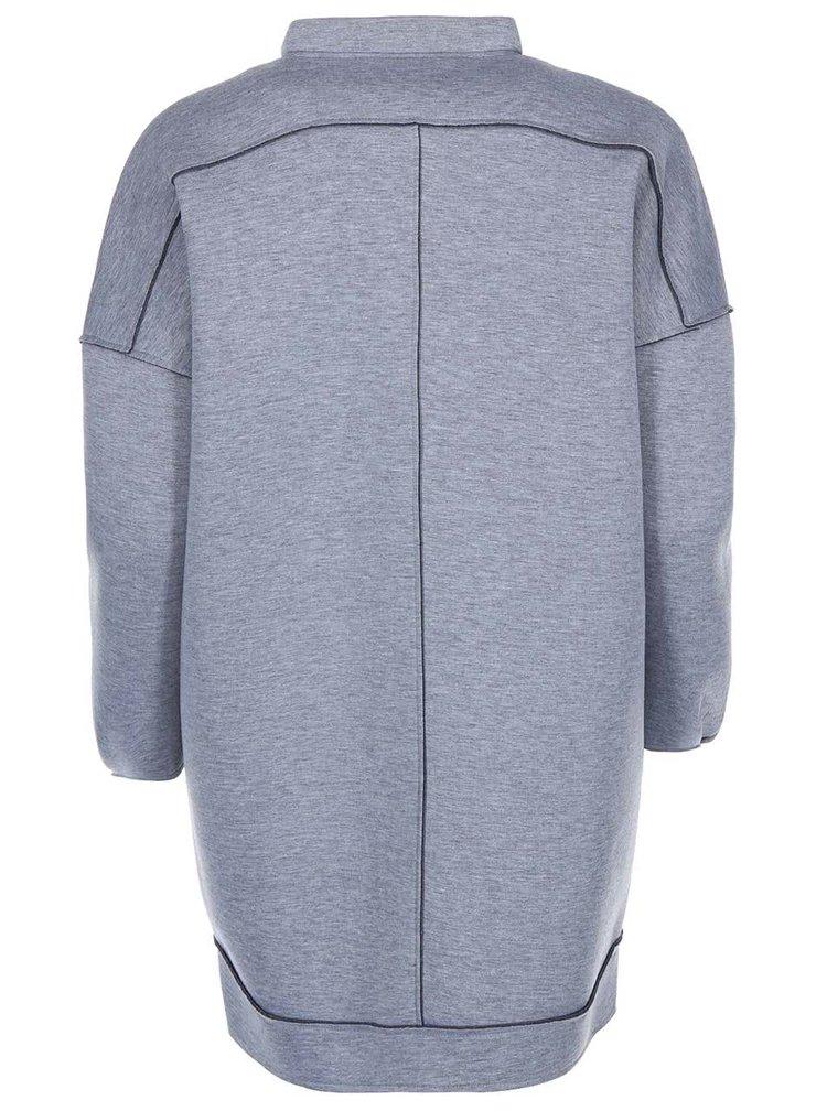 Svetlosivý dámsky melírovaný kabát na zips Desires Lingus