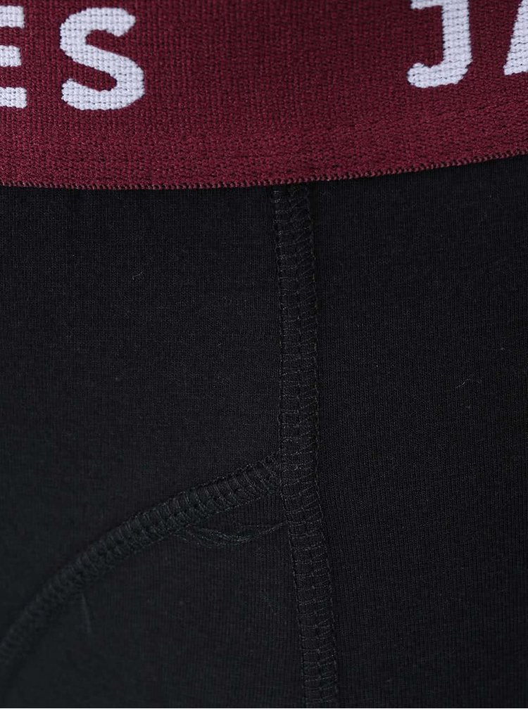 Čierne boxerky s vínovým lemom Jack & Jones Color Donk