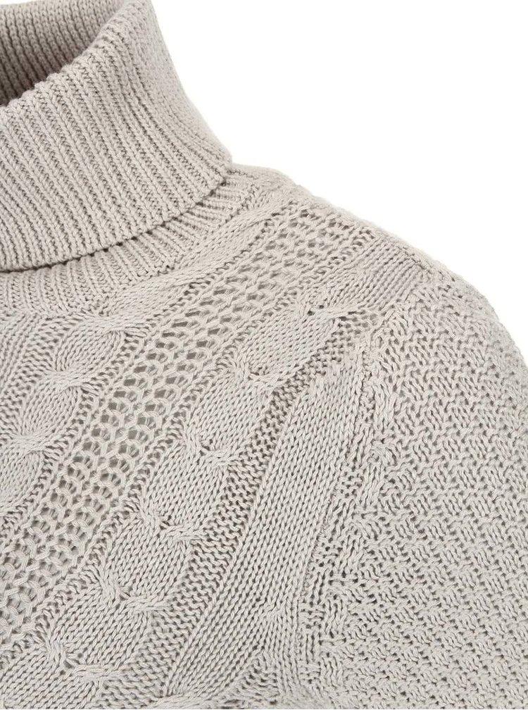 Pulover tricotat cu imprimeu VILA Lilla - gri deschis