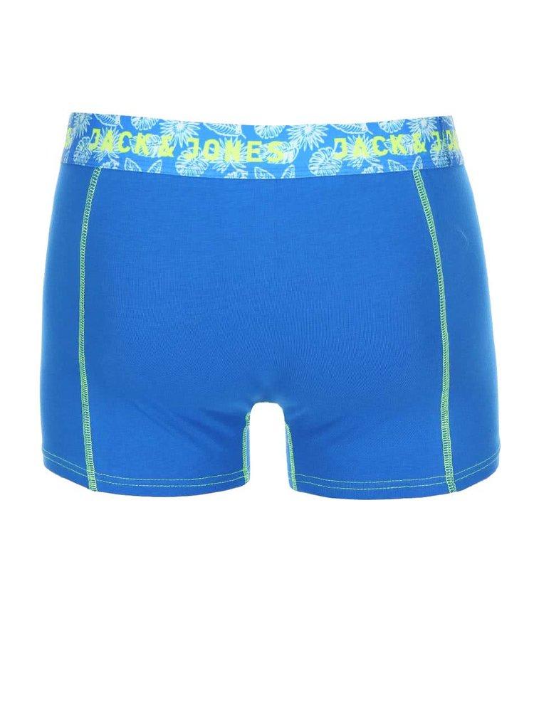 Set de trei perechi de boxeri albaștri cu model floral de la Jack & Jones
