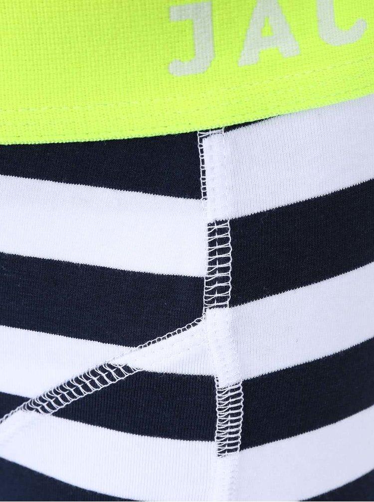 Bílo-modré pruhované boxerky Jack & Jones Yarndyed Block