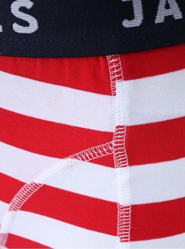 Bílo-červené pruhované boxerky Jack & Jones Yarndyed Block
