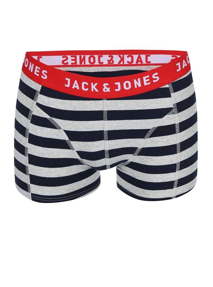 Boxeri Yarndyed Block cu dungi gri si albastre de la Jack & Jones