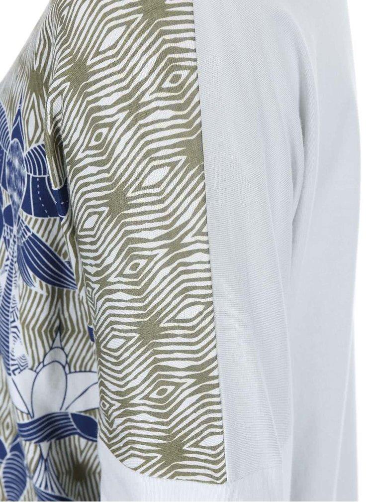 Biele tričko s potlačou a 3/4 rukávom Skunkfunk Joella