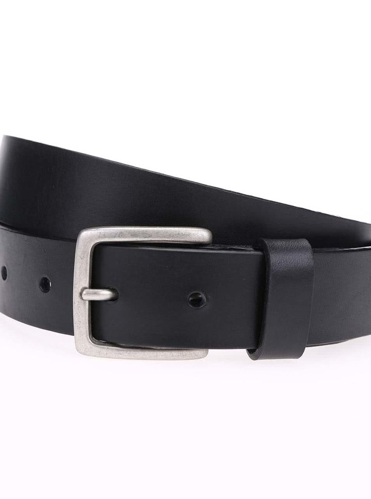 Černý kožený pásek Selected Homme Carson