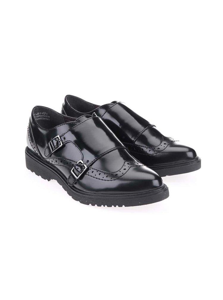 Pantofi brogue negri lucioși cu cataramă Tamaris