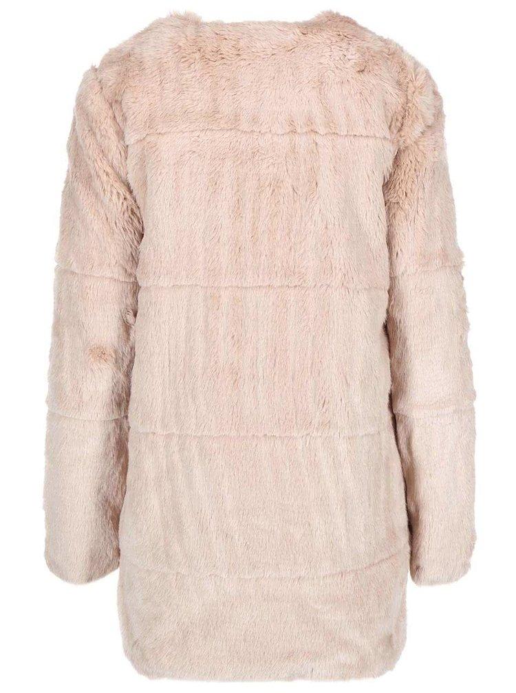 Béžový kabát s kožúškom ONLY Banks