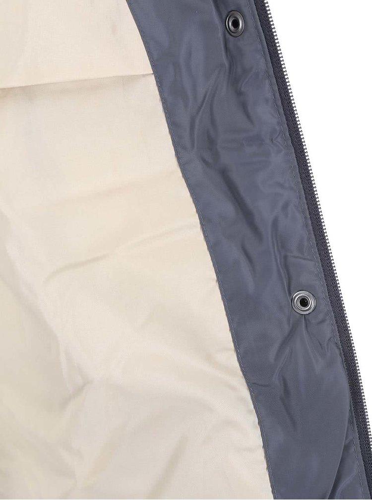 Modrá prešívaná bunda s kožúškom ONLY Wonder
