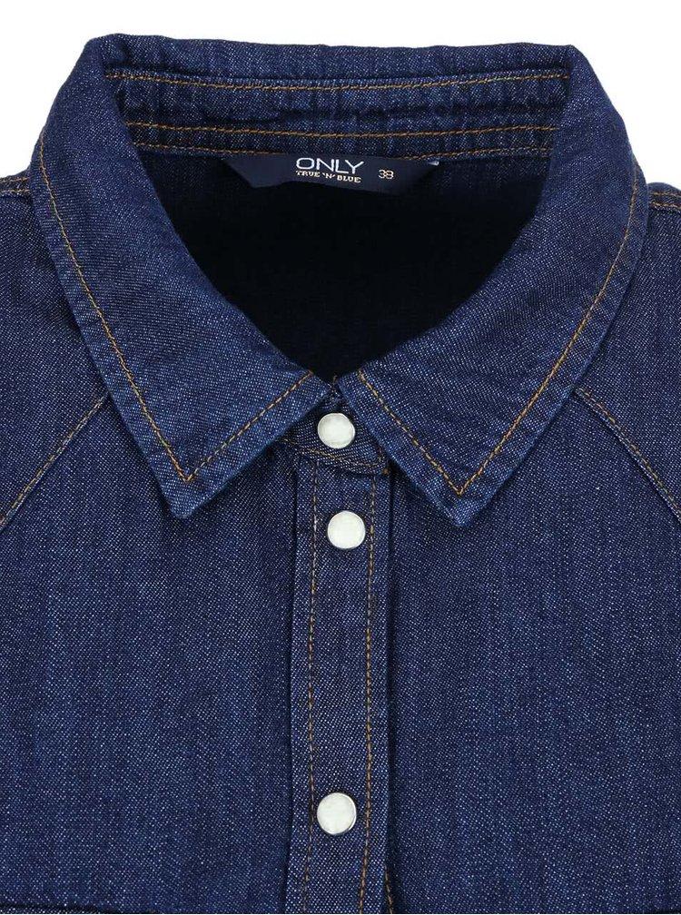Tmavě modrá džínová košile s výrazným prošíváním ONLY Kavor