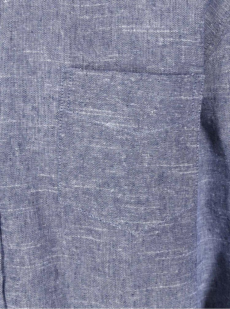 Cămașă bărbătească de in albastru melanj Bellfield Cairo