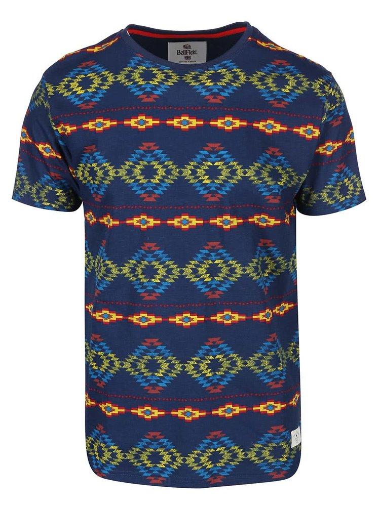 Modré pánské triko s barevnými vzory Bellfield Navajo