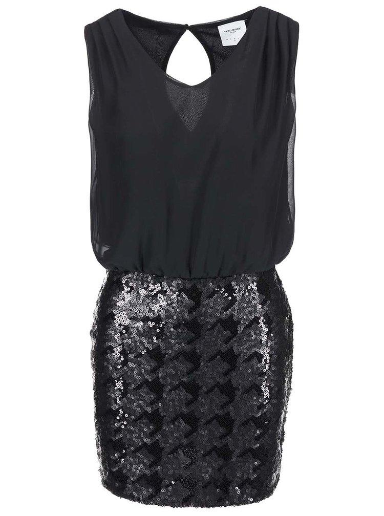Černé šaty s flitrovou sukní VERO MODA Minna