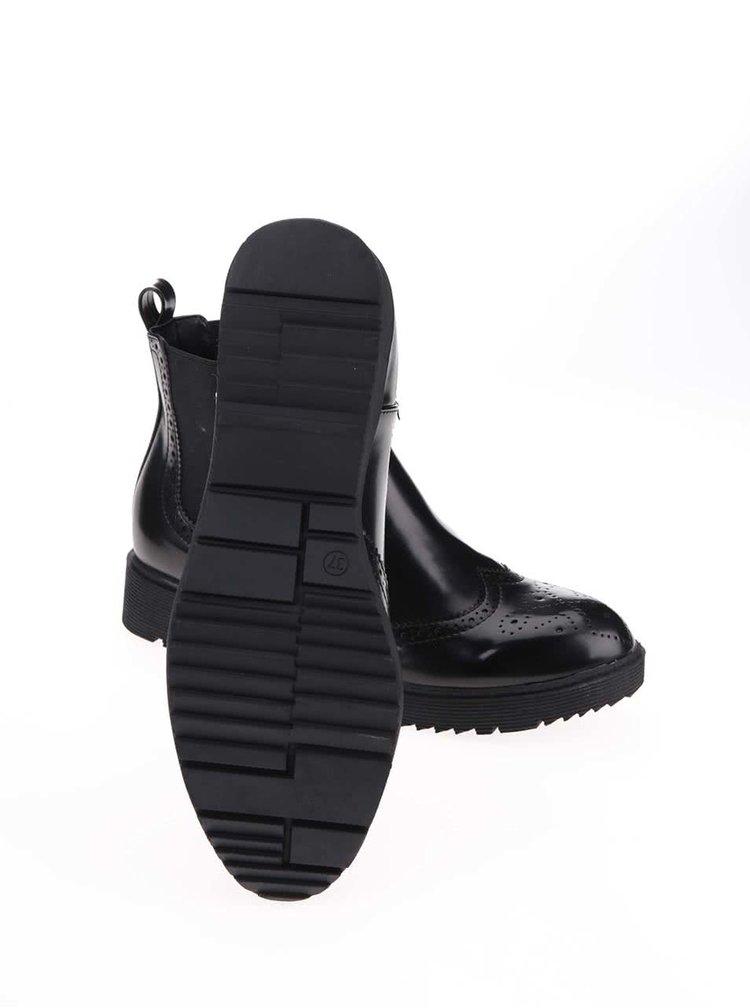 Černé lakované boty s brogue vzorováním Blink