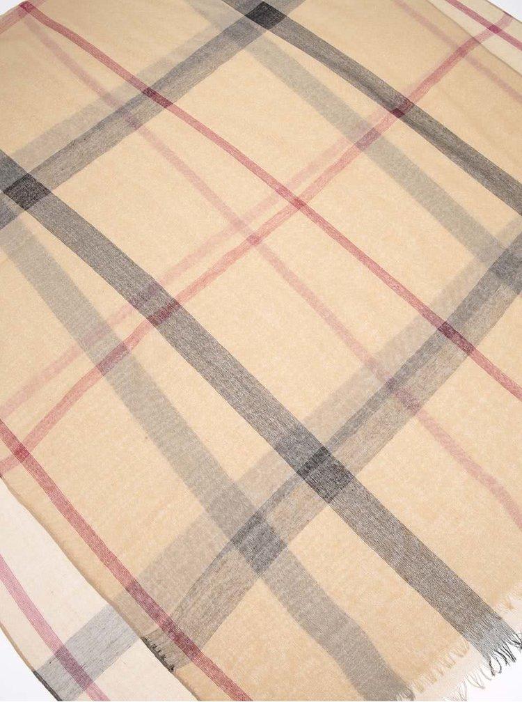 Béžový károvaný šátek Haily´s Tuch Karo