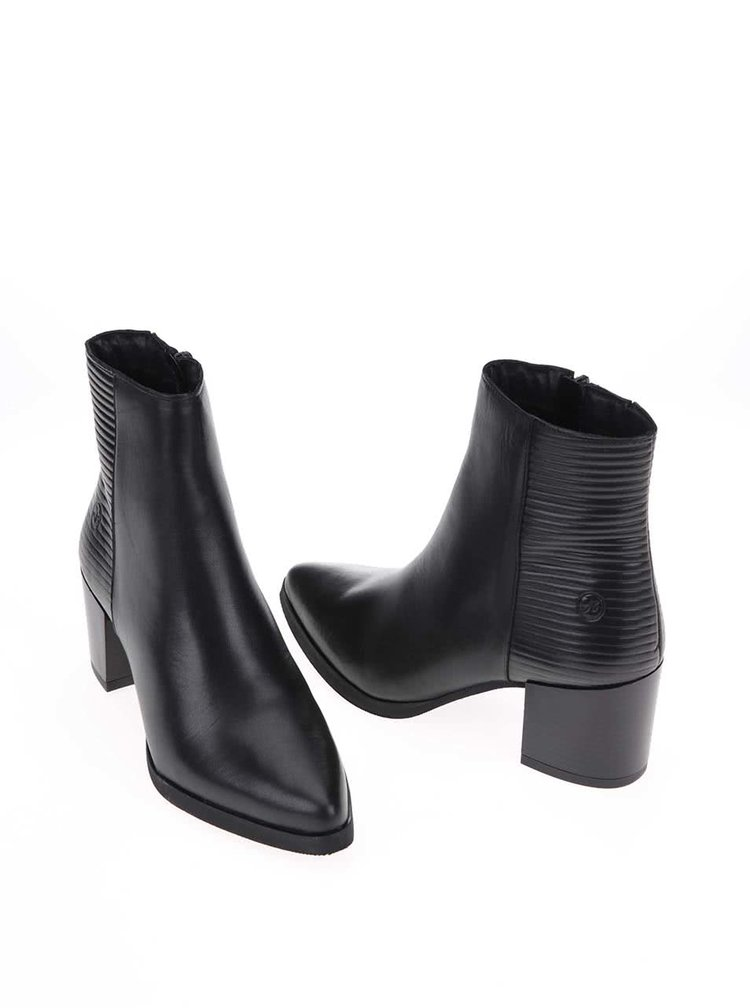 Černé kožené kotníkové boty na podpatku Bronx
