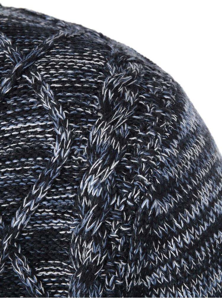 Modro-šedý propínací svetr Shine Original Cable