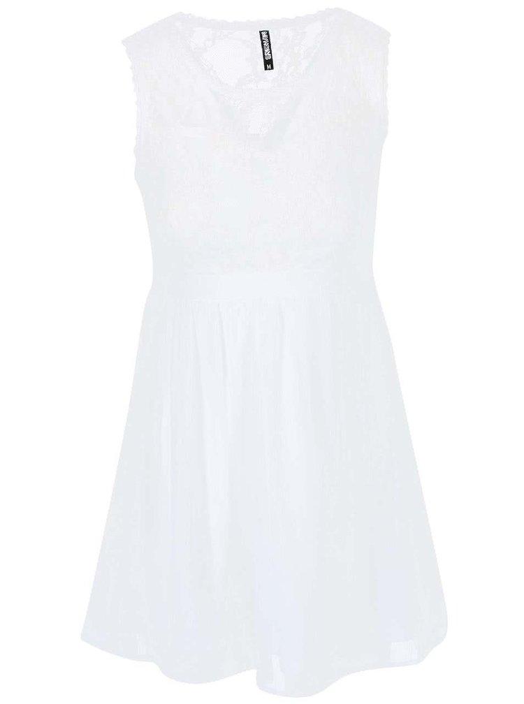 Biele šaty s čipkovaným vrškom Haily´s Lydia