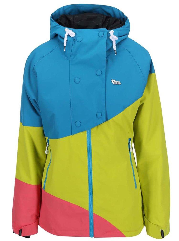 Modro-žluto-růžová dámská bunda s kapucí Horsefeathers Mono