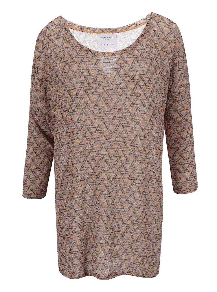 Top maro tricotat cu imprimeu Jenny VERO MODA