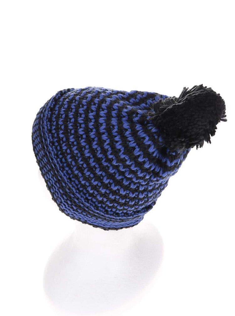 Černo-modrá pánská čepice s bambulí Horsefeathers Hugh