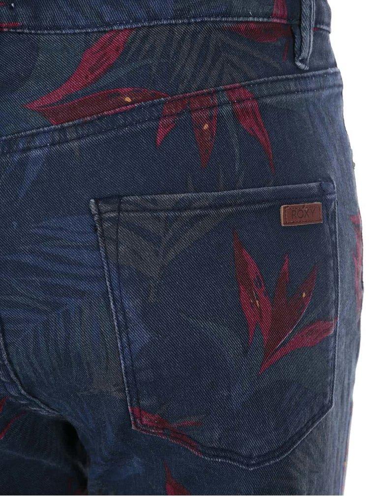 Modré skinny džíny s potiskem listů Roxy Suntrip