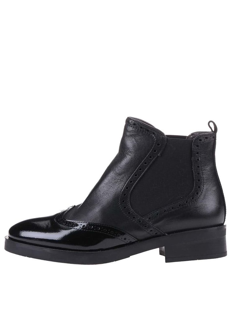 Černé kožené kotníkové boty OJJU