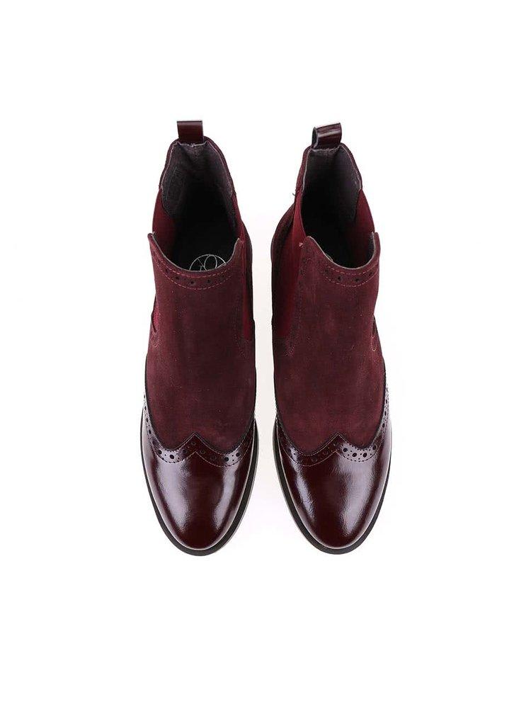 Vínové kožené členkové topánky OJJU