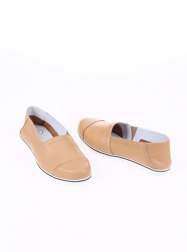 Béžové kožené loafers OJJU