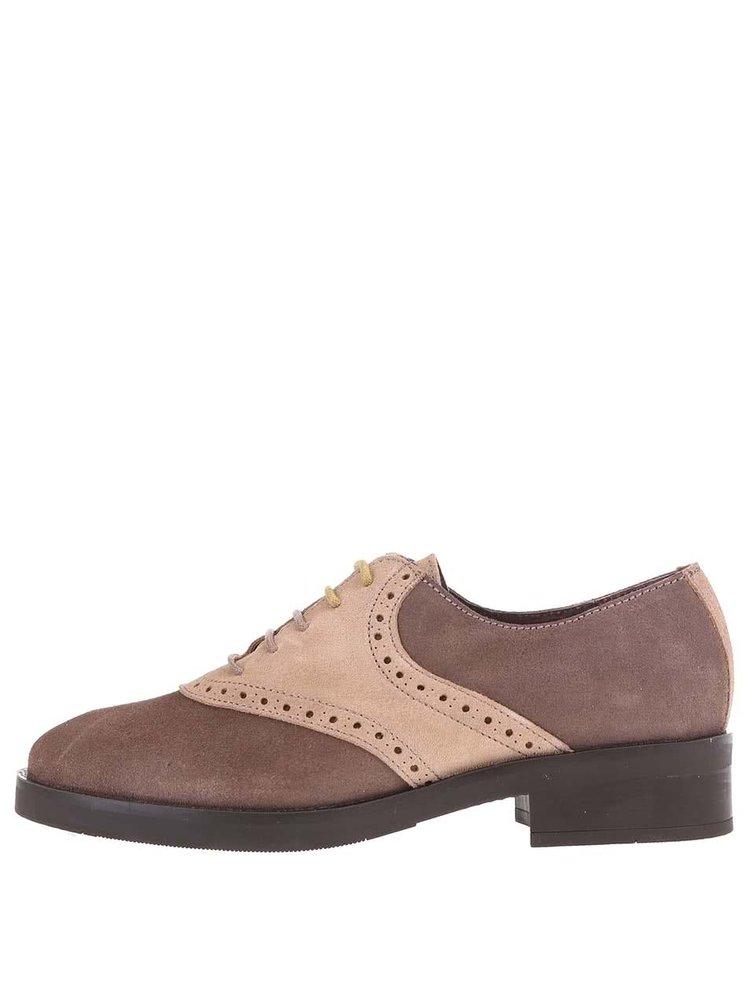 Pantofi Oxford bej cu maro, din piele, OJJU