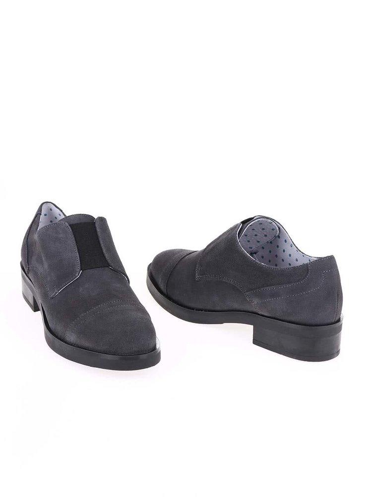 Pantofi Oxford gri din piele, OJJU