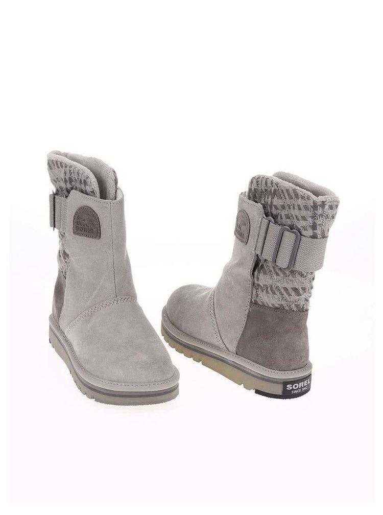 Šedé dámské kožené zimní boty SOREL The Campus