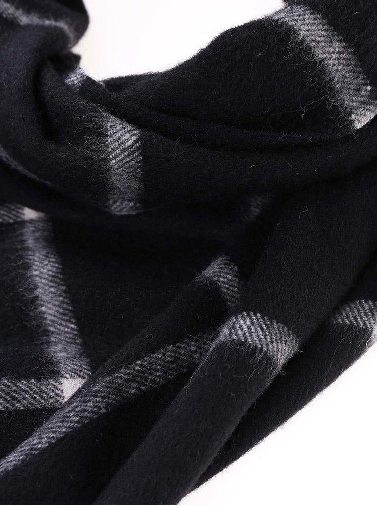 Černá vlněná šála s kašmírem Jack & Jones WCash